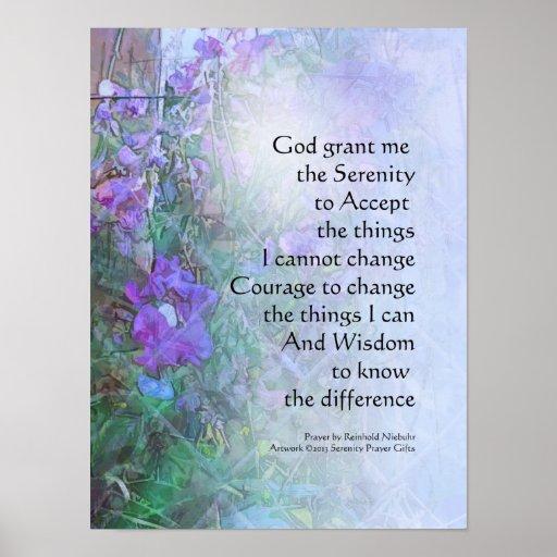 Serenity Prayer Sweet Peas and Fence Print