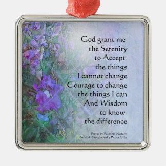 Serenity Prayer Sweet Peas Metal Ornament