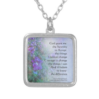 Serenity Prayer Sweet Peas Silver Plated Necklace