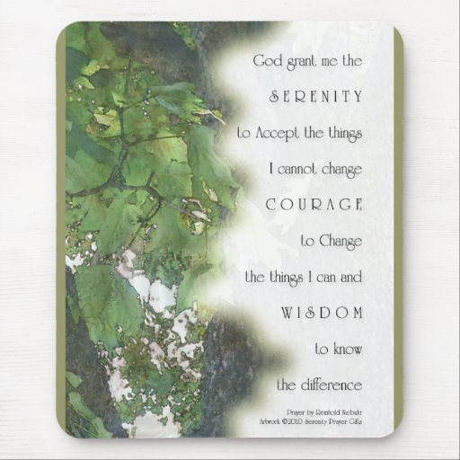 Serenity Prayer Sycamore Leaves Mouse Pad