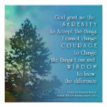 Serenity Prayer Tall Tree Poster