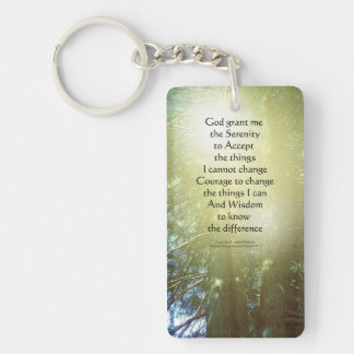 Serenity Prayer Tall Trees Two Rectangle Acrylic Keychain