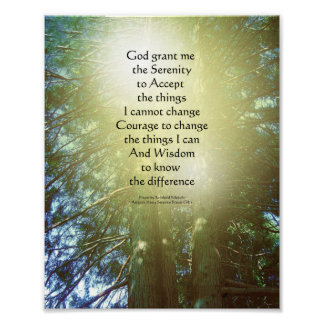 Serenity Prayer Tall Trees Two Poster