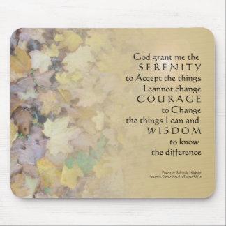 Serenity Prayer Tan Leaves Mouse Pad