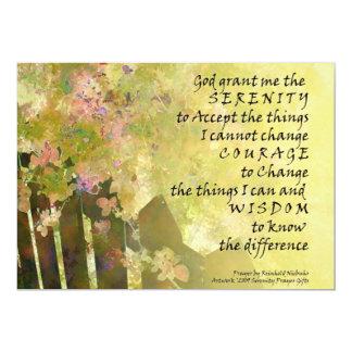 """Serenity Prayer Tiny Roses and Fence 5"""" X 7"""" Invitation Card"""