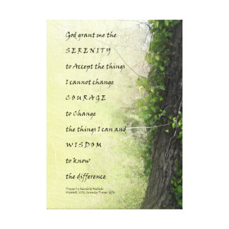 Serenity Prayer Tree and Gully Wrapped Canvas Canvas Print