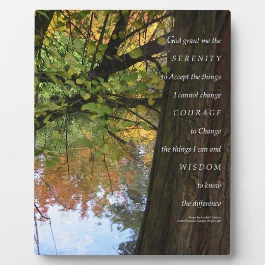 Serenity Prayer Tree & Pond Autumn Plaque