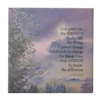 Serenity Prayer Tree Sky Glow Ceramic Tile