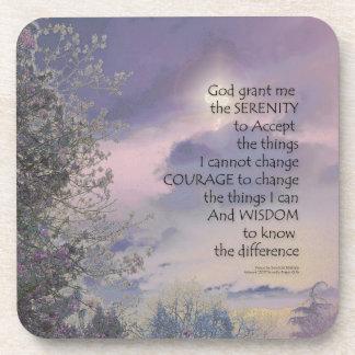 Serenity Prayer Tree Sky Glow Coaster