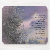 Serenity Prayer Tree Sky Glow Mouse Pad