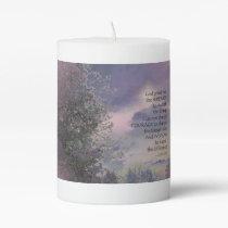 Serenity Prayer Tree Sky Glow Pillar Candle