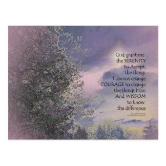 Serenity Prayer Tree Sky Glow Postcard