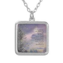 Serenity Prayer Tree Sky Glow Silver Plated Necklace