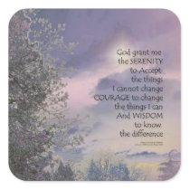 Serenity Prayer Tree Sky Glow Square Sticker