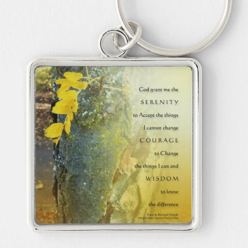 Serenity Prayer Tree Trunk and Yellow Leaves Keych Silver-Colored Square Keychain