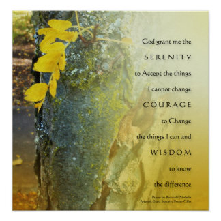 Serenity Prayer Tree Trunk and Yellow Leaves Poste Poster