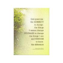 Serenity Prayer Tree Yellow Green Canvas Print