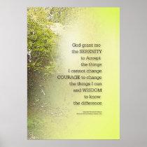 Serenity Prayer Tree Yellow Green Poster