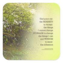 Serenity Prayer Tree Yellow Green Square Sticker