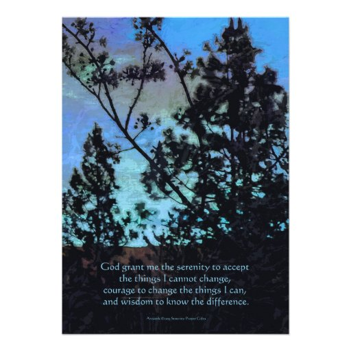 Serenity Prayer Trees and Sky Blue Custom Announcement