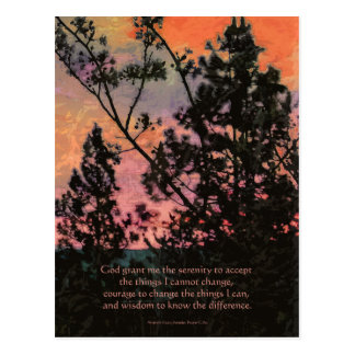Serenity Prayer Trees and Sky Postcard