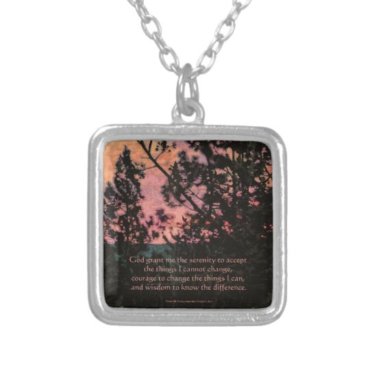 Serenity Prayer Trees and Sky Silver Plated Necklace