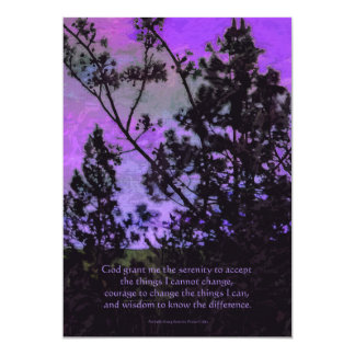 "Serenity Prayer Trees and Sky Violet 5"" X 7"" Invitation Card"