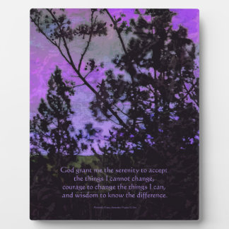 Serenity Prayer Trees and Sky Violet Plaque