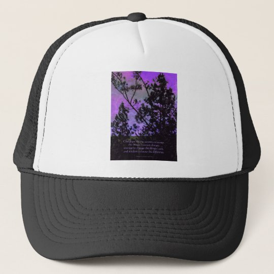 Serenity Prayer Trees and Sky Violet Trucker Hat