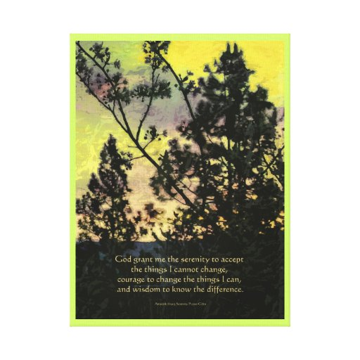 Serenity Prayer Trees and Sky Yellow Green Stretched Canvas Prints