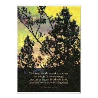 "Serenity Prayer Trees and Sky Yellow Green 5"" X 7"" Invitation Card"