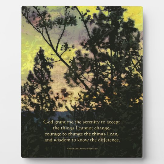 Serenity Prayer Trees and Sky Yellow Green Plaque