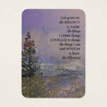 Serenity Prayer Trees Hills Snow Business Card