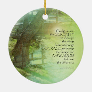 Serenity Prayer Trees, Water, Bridge Ceramic Ornament