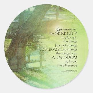 Serenity Prayer Trees, Water, Bridge Classic Round Sticker