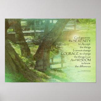 Serenity Prayer Trees, Water, Bridge Poster