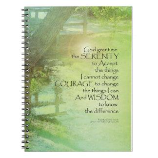 Serenity Prayer Trees, Water, Bridge Spiral Notebook