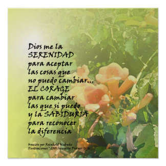 Serenity Prayer Trumpet Flower in Spanish Print