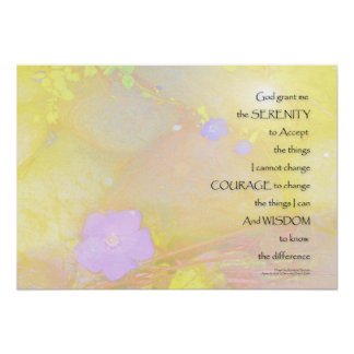 Serenity Prayer Vinca and Stones Poster