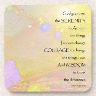 Serenity Prayer Vinca on Stones Coaster