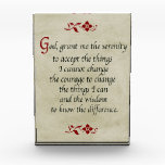 """Serenity Prayer/Vintage Style Acrylic Award<br><div class=""""desc"""">This beautiful verse associated with AA and Al-Anon will bring you inspiration and comfort every day, even if you are not associated with the aforementioned organizations. These words can help any person in their daily life. The prayer is framed on a vintage buff colored background, with floral accents in a...</div>"""