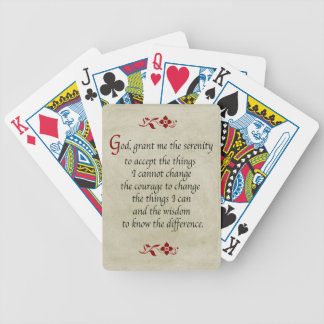 Serenity Prayer/Vintage Style Bicycle Playing Cards