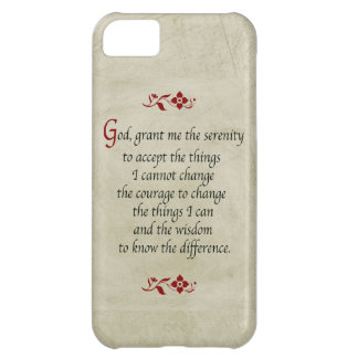 Serenity Prayer-Vintage Style+Burgundy Accents Case For iPhone 5C