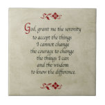 Serenity Prayer/Vintage Style Small Square Tile
