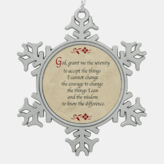 Serenity Prayer/Vintage Style Snowflake Pewter Christmas Ornament