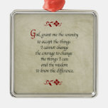 Serenity Prayer/Vintage Style Square Metal Christmas Ornament