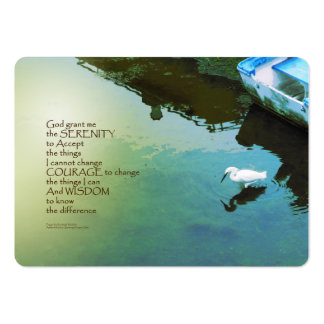 Serenity Prayer Water and White Bird Large Business Card