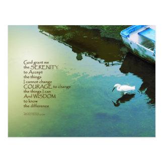 Serenity Prayer Water and White Bird Postcard