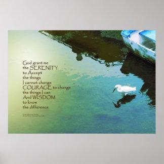 Serenity Prayer Water and White Bird Poster