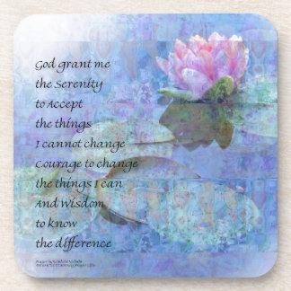 Serenity Prayer Water Lily Wonders Drink Coaster